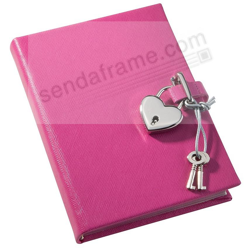 Pebble-Pink DIARY (Small) with HEART LOCK Eco-leather by Graphic Image™