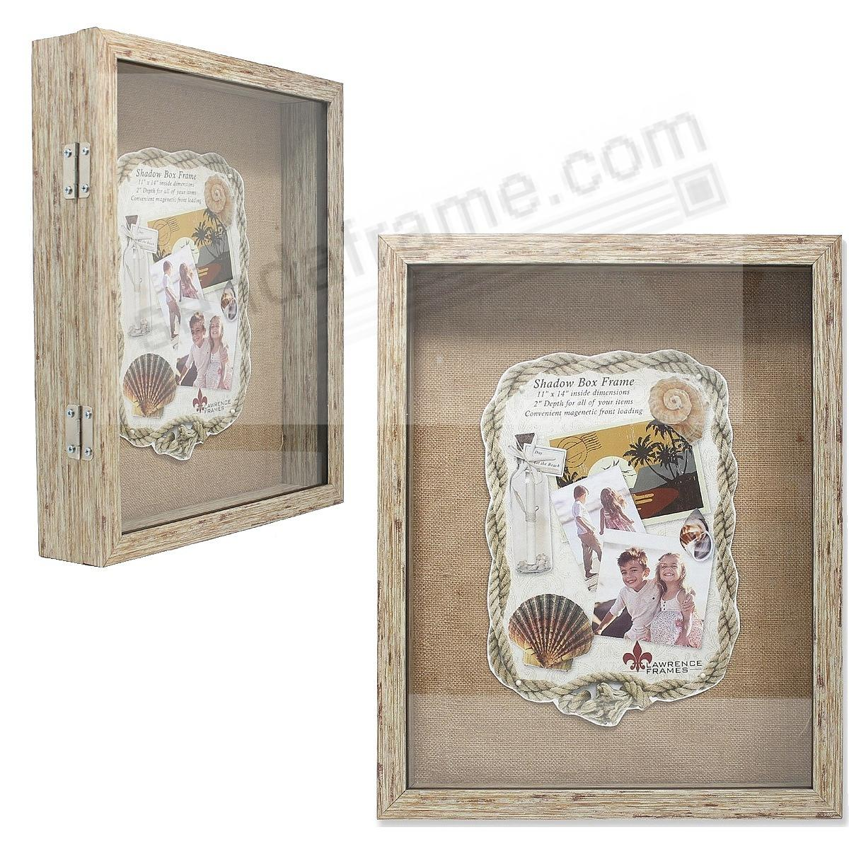 Natural-Weathered 11x14 2-in Depth Shadowbox w/magnetic lock front opening by Lawrence®