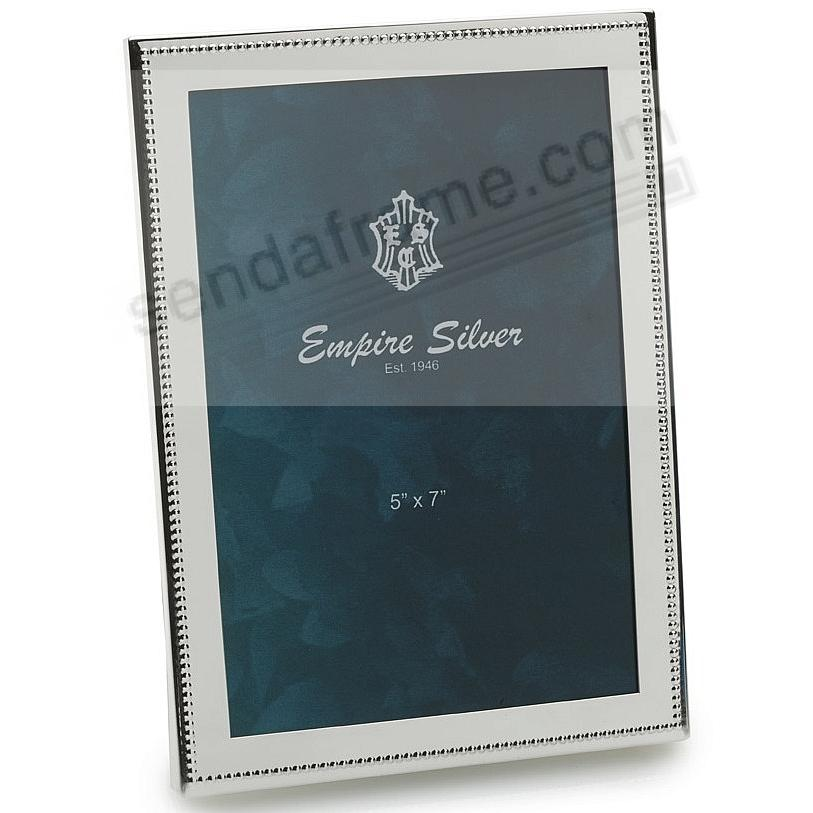 BRITE Luxe Engraveable Solid Pewter 5x7 Beaded frame by Empire Silver®