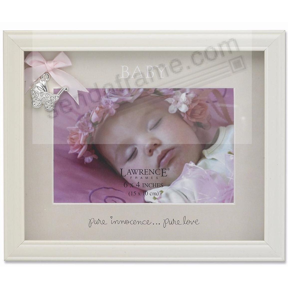 Ivory Shadow Picture Frame w/Silver Carriage and Pink Ribbon by Lawrence®