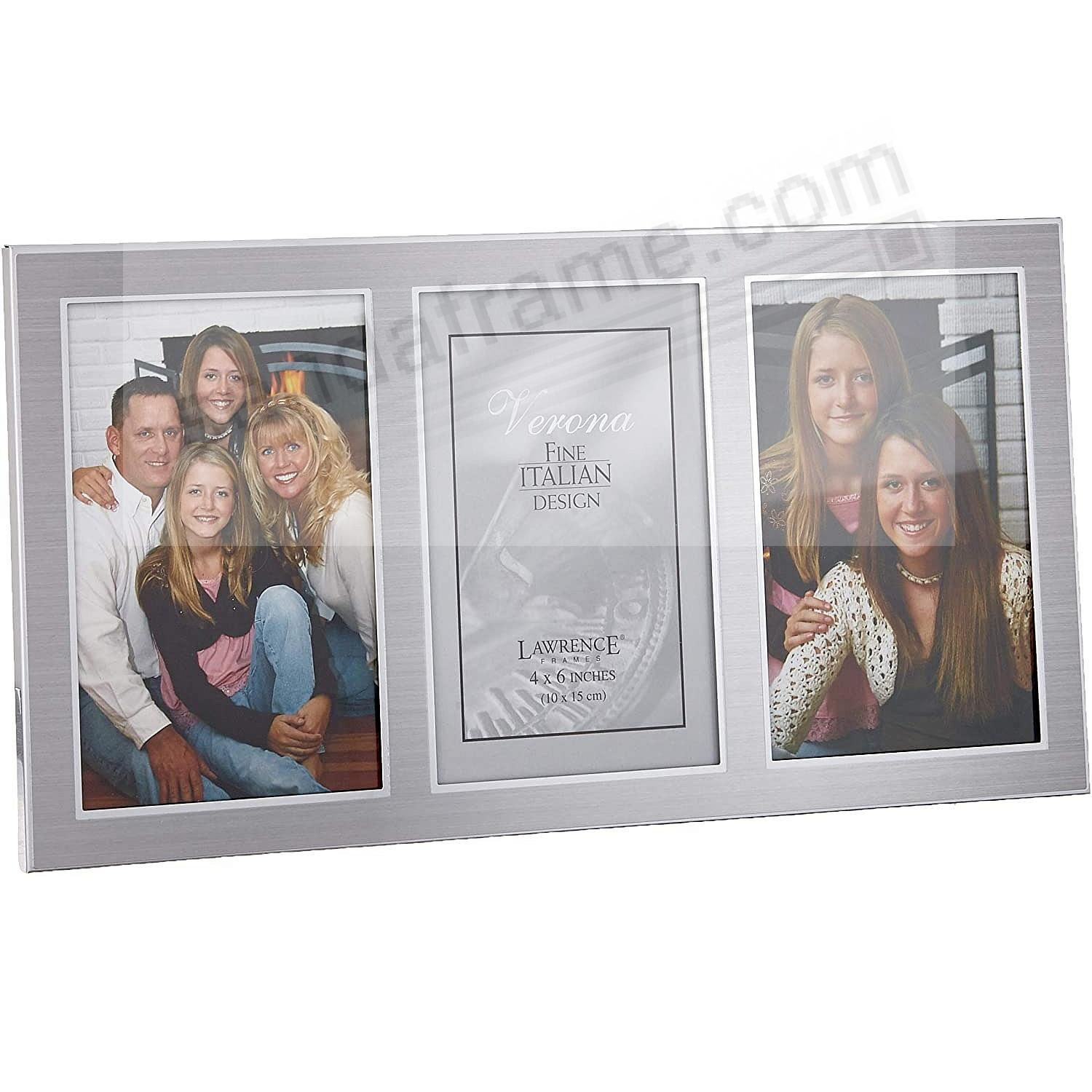 Satin Silverplate Triple 4x6 frame by Lawrence®
