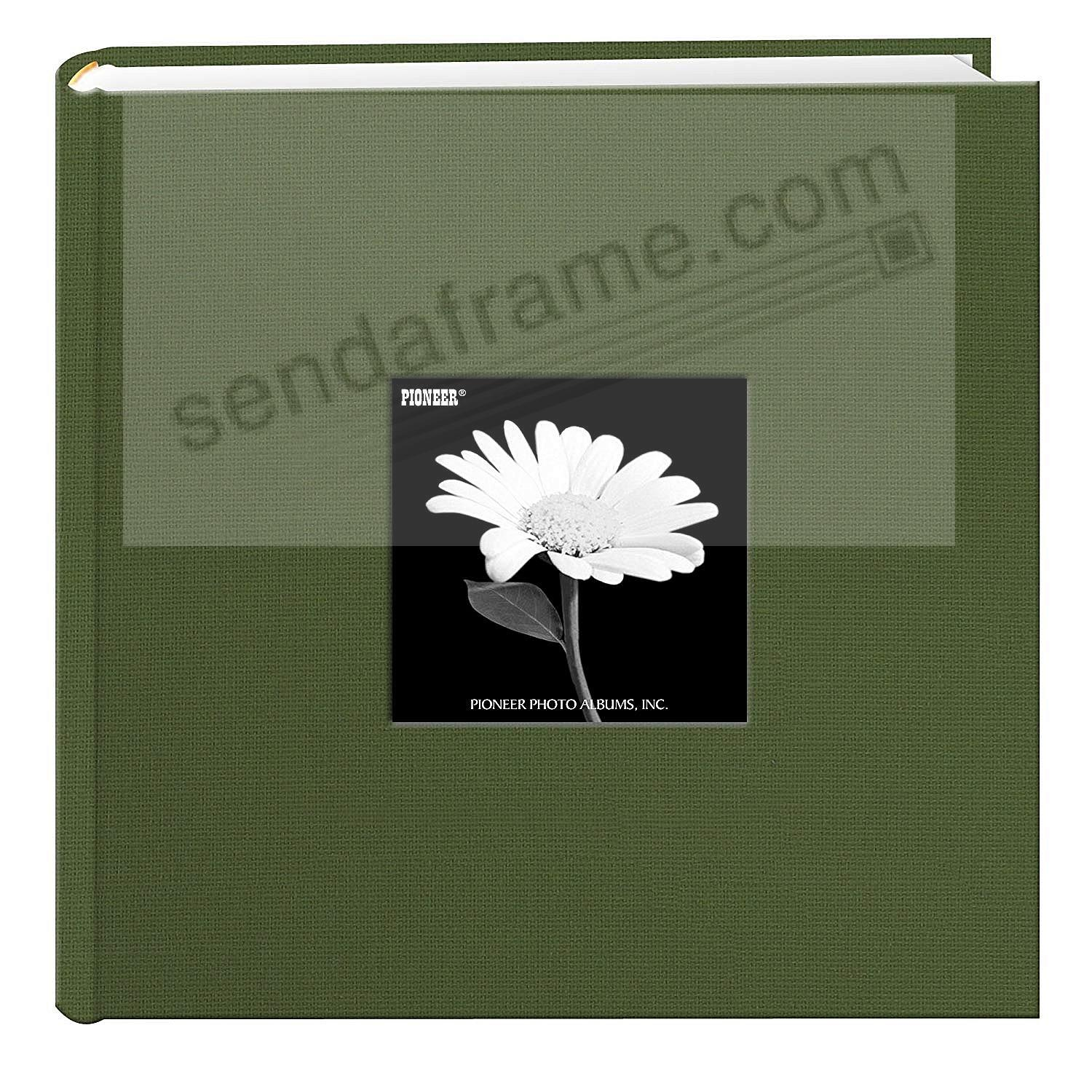 HUNTER GREEN Cloth 2-up frame cover photo album by Pioneer®