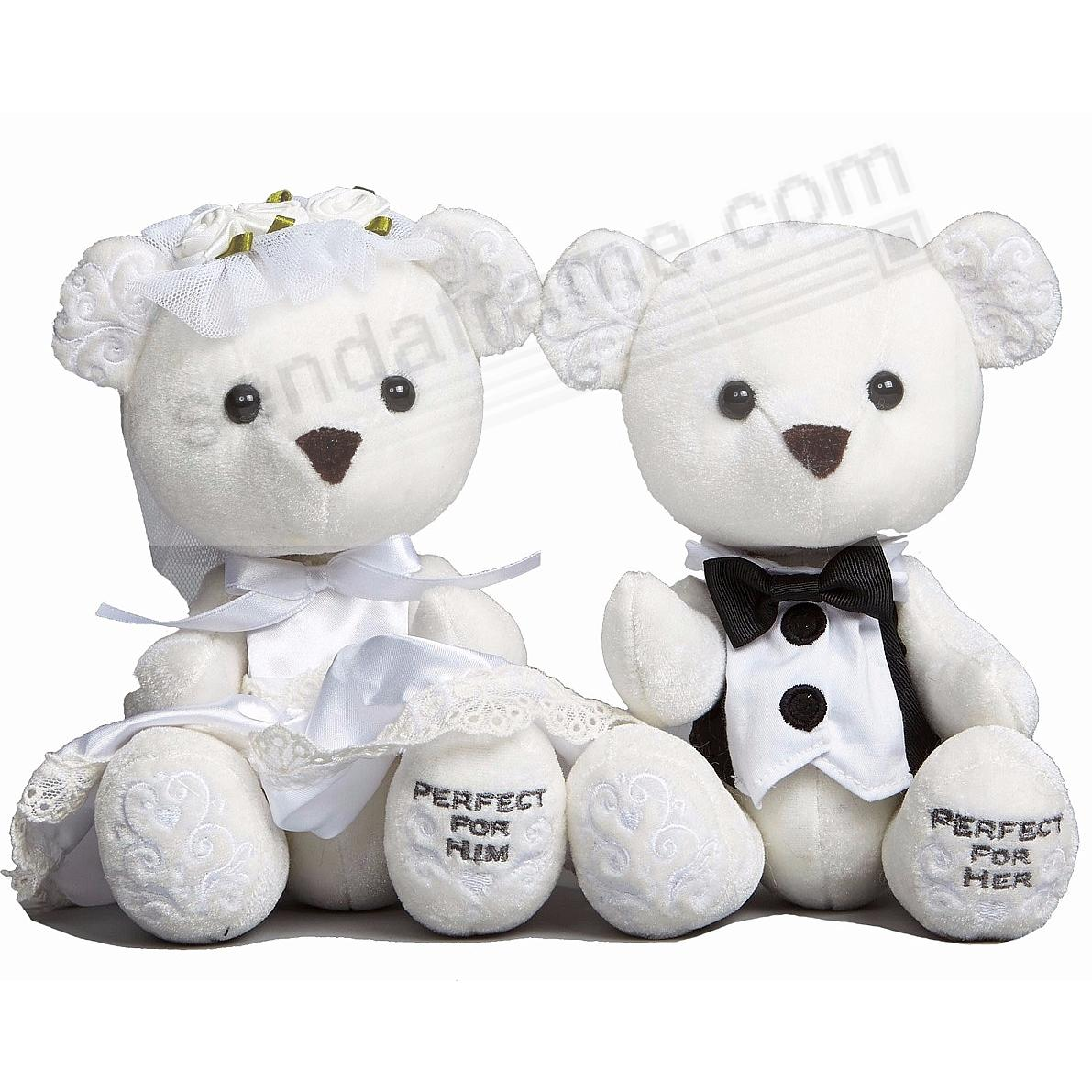 BRIDE & GROOM 9½-inch Plush Toy Bears by Enesco® (set of 2)