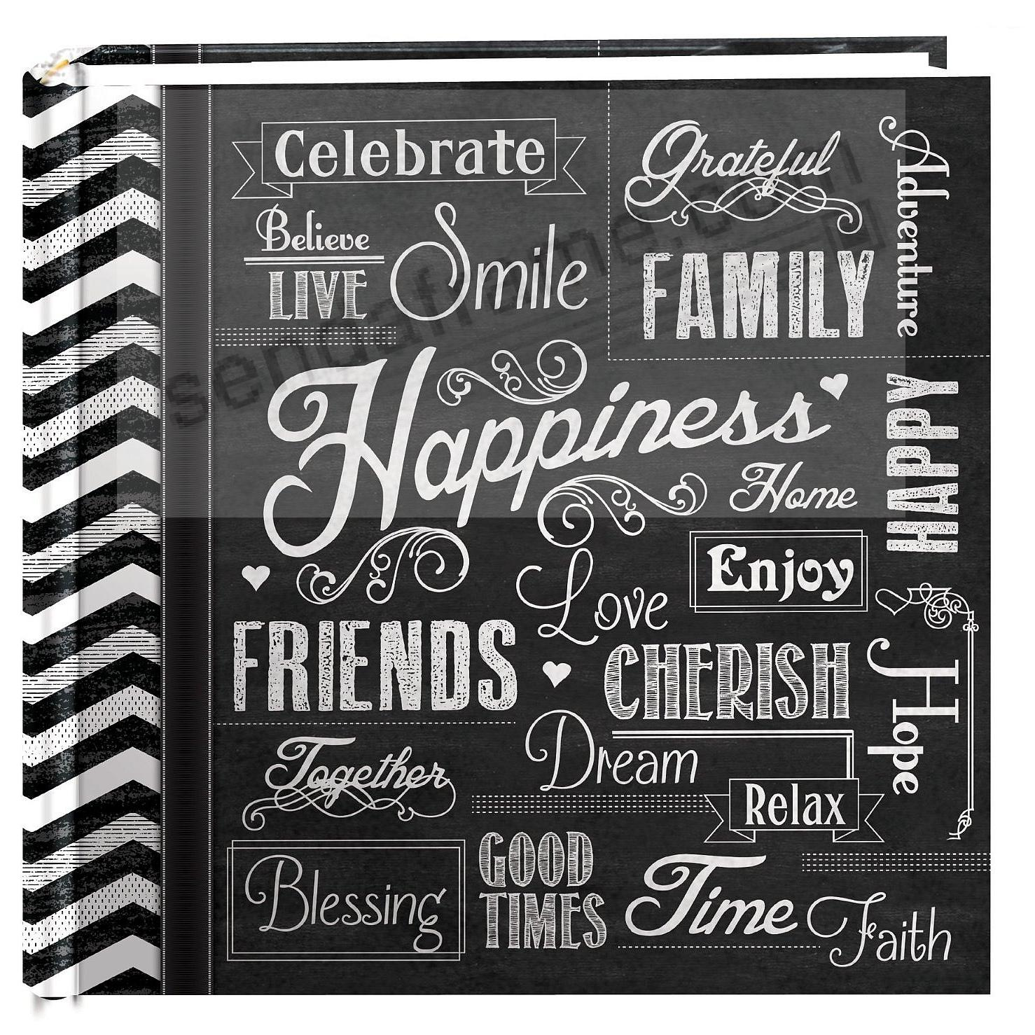 CHALKBOARD PRINTED HAPPINESS 2-up photo album by Pioneer®