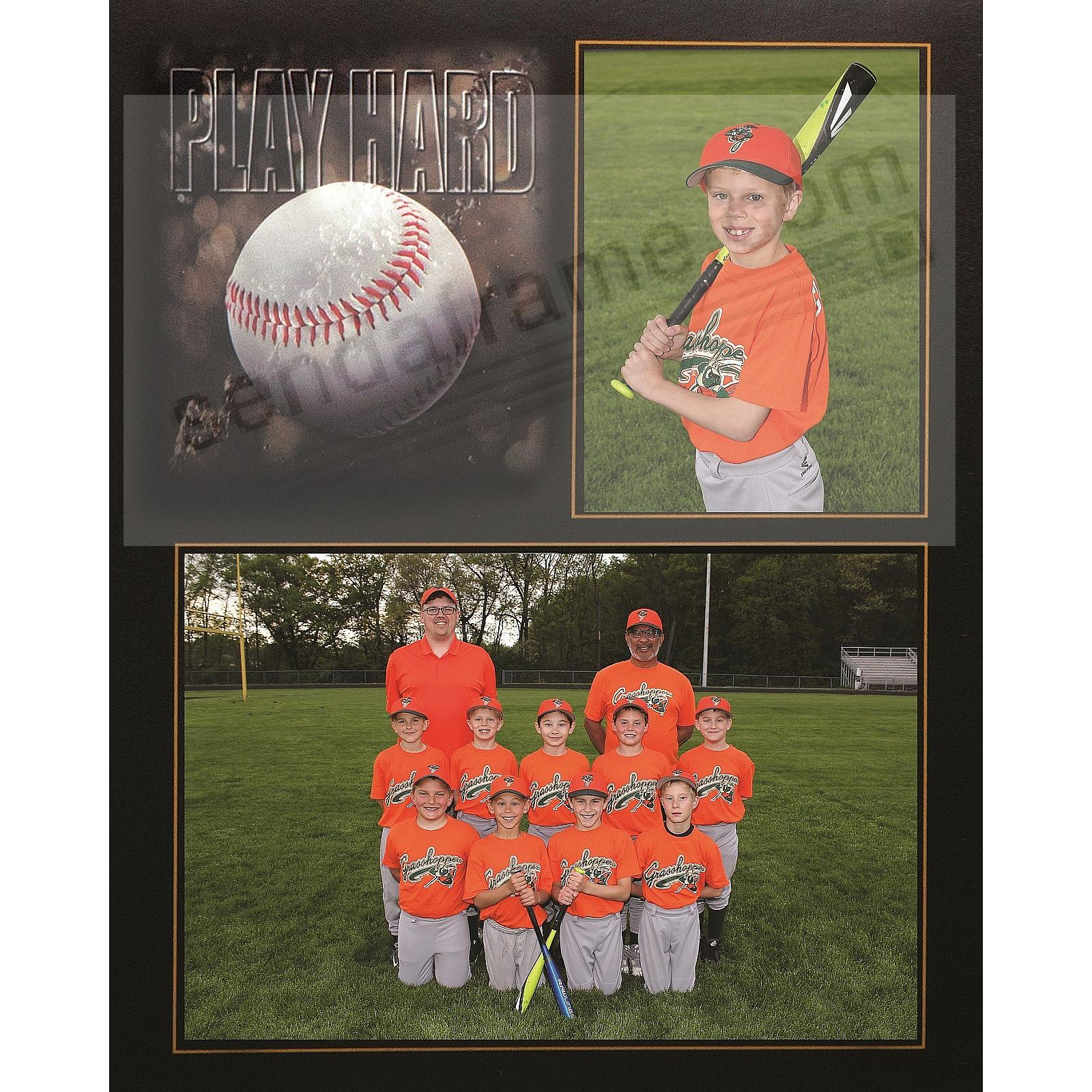 PLAY HARD BASEBALL Player/Team 7x5/3½x5 SPORTS MATES cardstock double frame (sold in 10's)