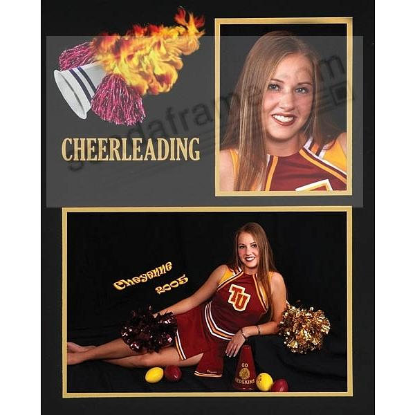 CHEERLEADING Team 7x5/3½x5 MEMORY MATES cardstock double photo frame (sold in 10's)