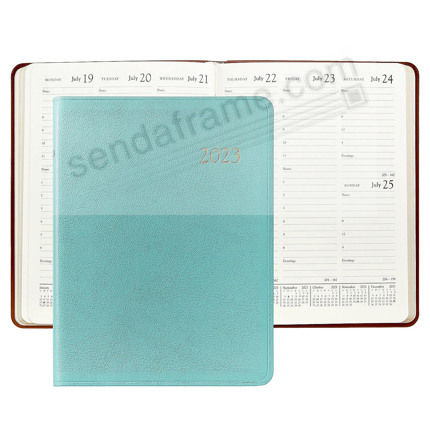 2018 Brights ROBINS EGG BLUE fine Leather 9in Desk Diary by Graphic Image™