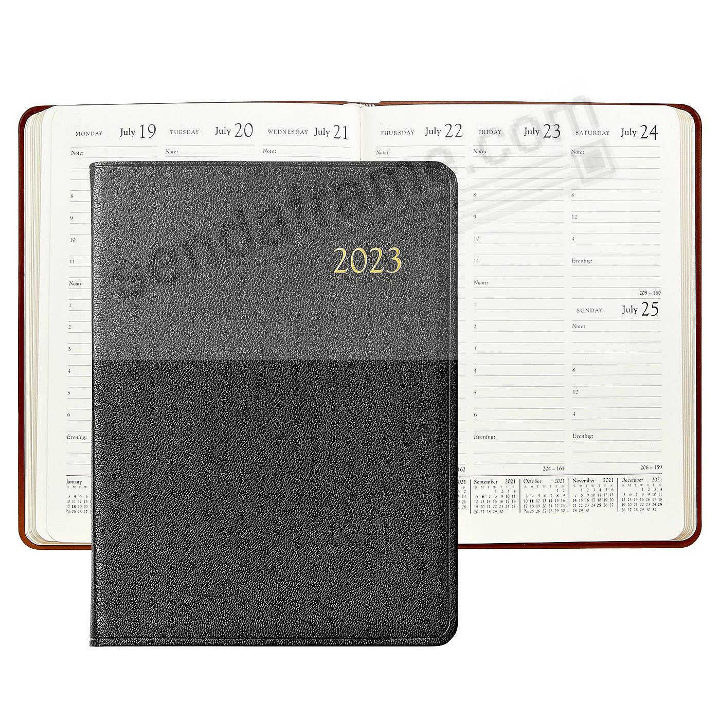 2020 BLACK Goatskin Leather 9in Desk Diary by Graphic Image™