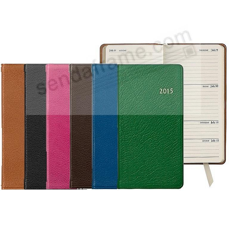 2015 ASSORTED COLORS Pocket 6-inch Datebook Diary in Fine Leather by Graphic Image™