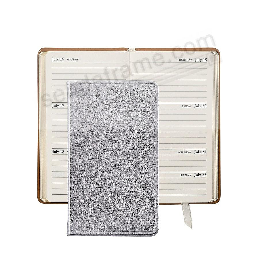 2017 SILVER METALLICS 5-inch Pocket Datebook Diary Leather by Graphic Image™