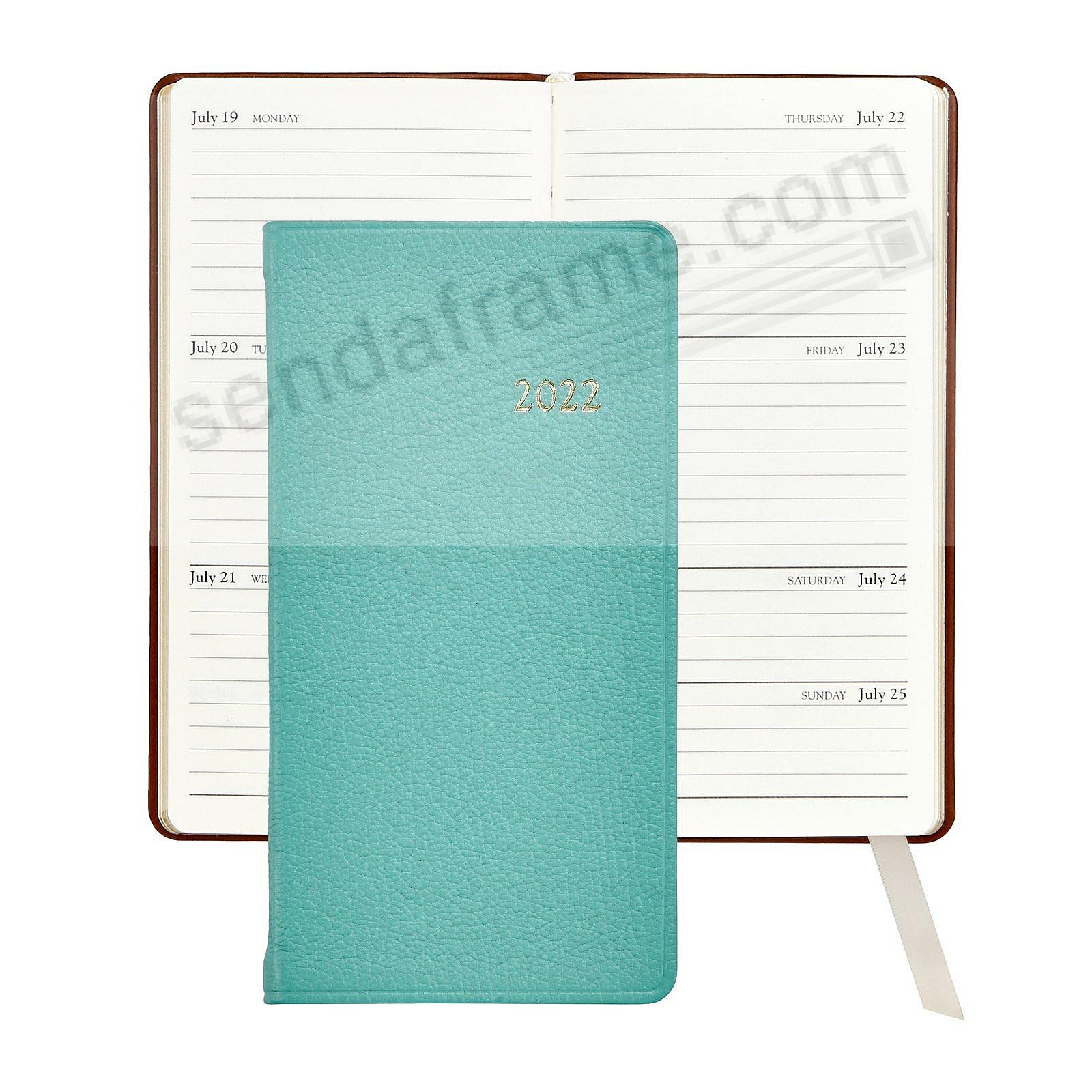 2017 ROBINS-EGG BLUE 6in Pocket Datebook Diary Goatskin Leather by Graphic Image™