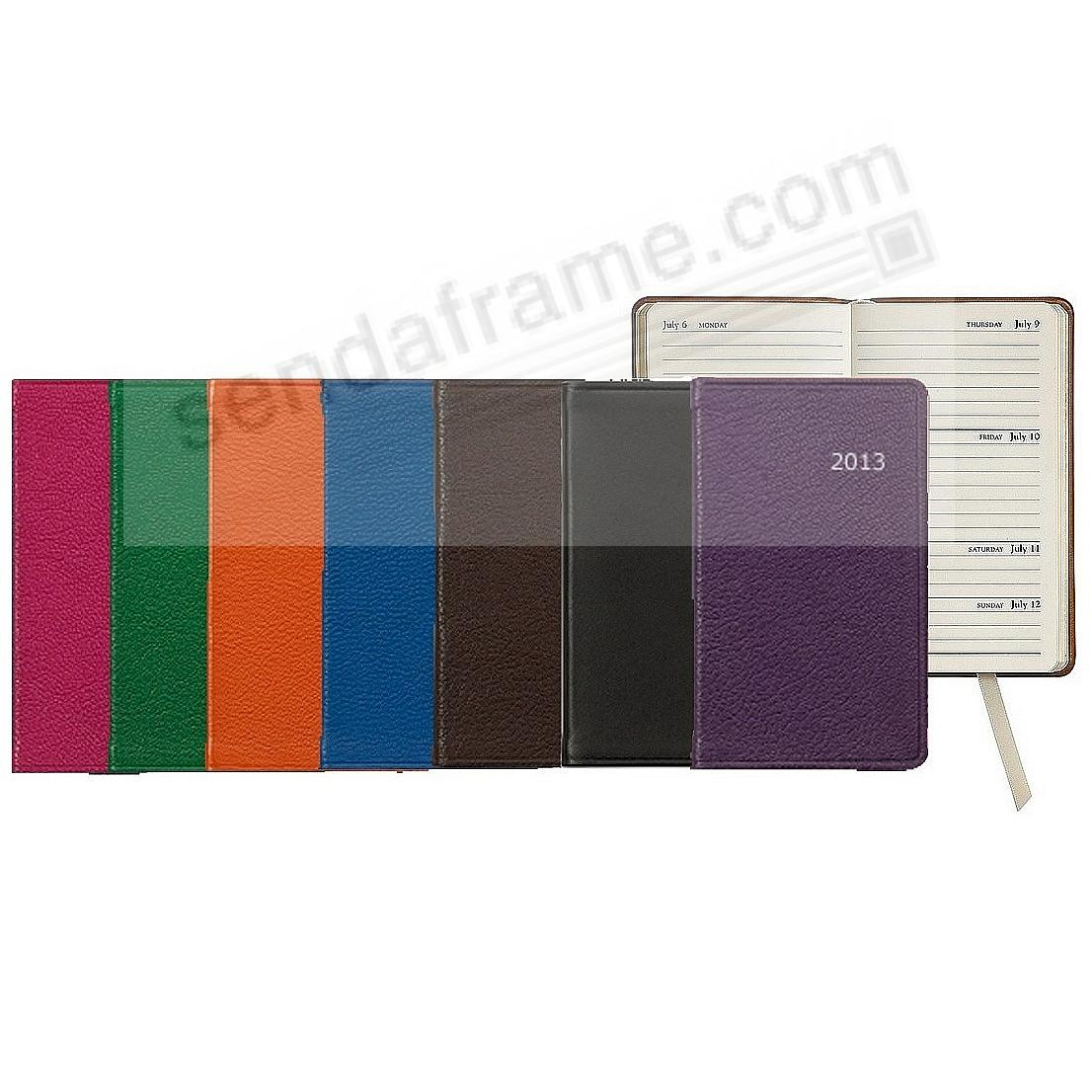 2013 ASSORTED COLORS 5-inch Pocket Datebook Diary in Fine Leather by Graphic Image™