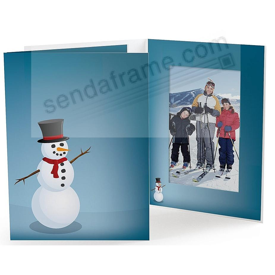 JOYFUL SNOWMAN Holiday Photo Folder for 5x7 (portrait) prints