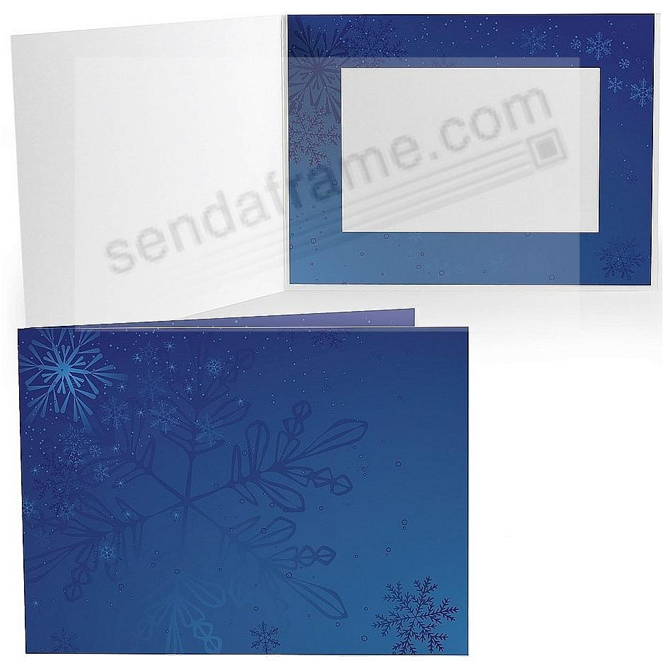BLUE SNOWFLAKE Holiday Photo Folder for 7x5 (landscape) prints