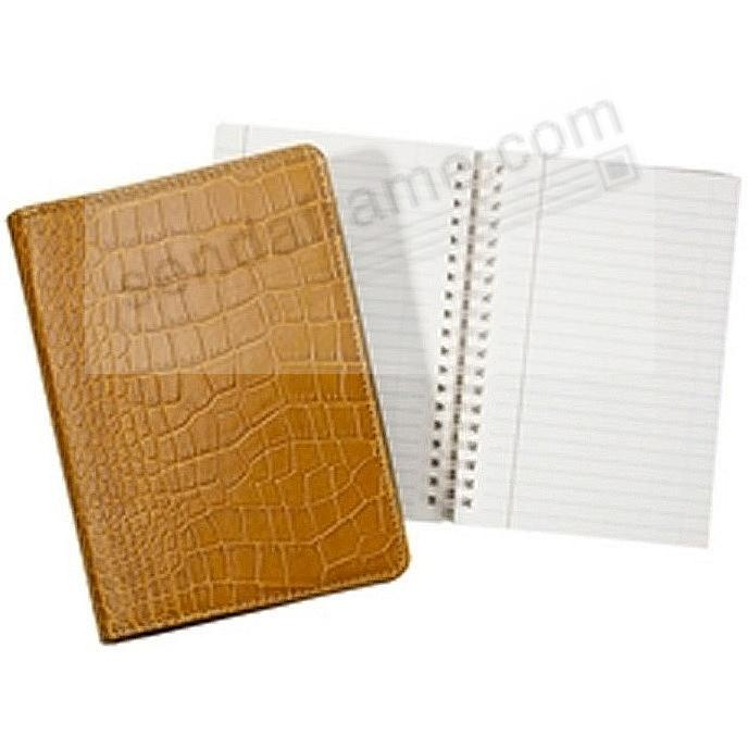 Wire-O-Notebook 7'' Croco-Embossed Goldenrod Fine Calfskin Leather by Graphic Image™
