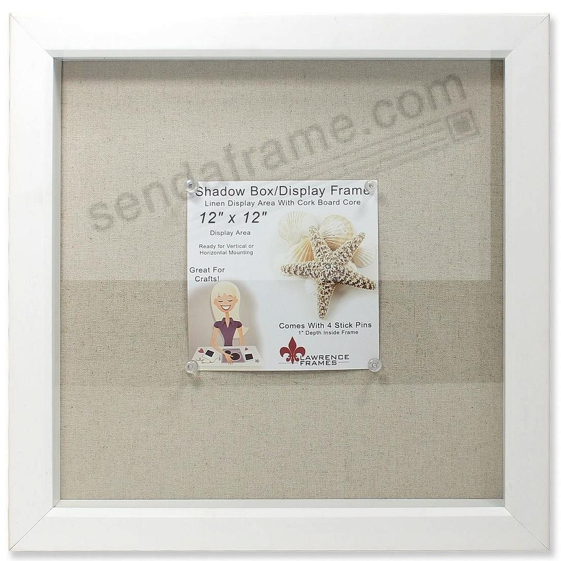 White-stained deep craft linen-lined 12x12 ShadowBox by Lawrence®