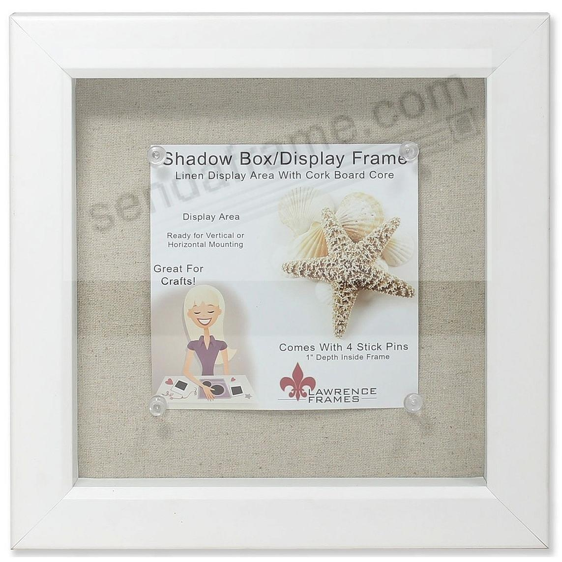 White-stained 1in Deep craft linen-lined 8x8 ShadowBox by Lawrence®