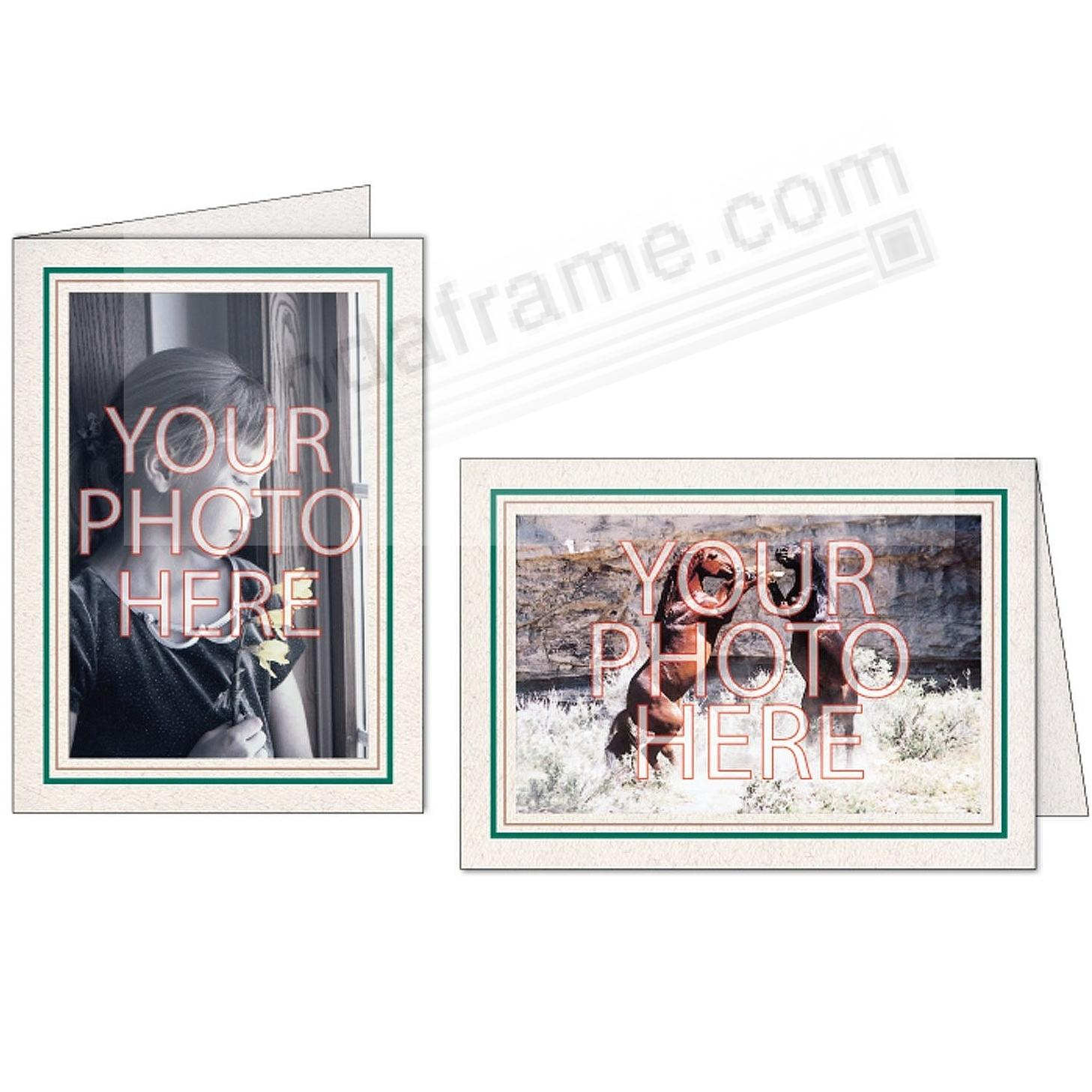 Natural Green+Sandstone Double Border Photo Insert Card (sold in 10s)