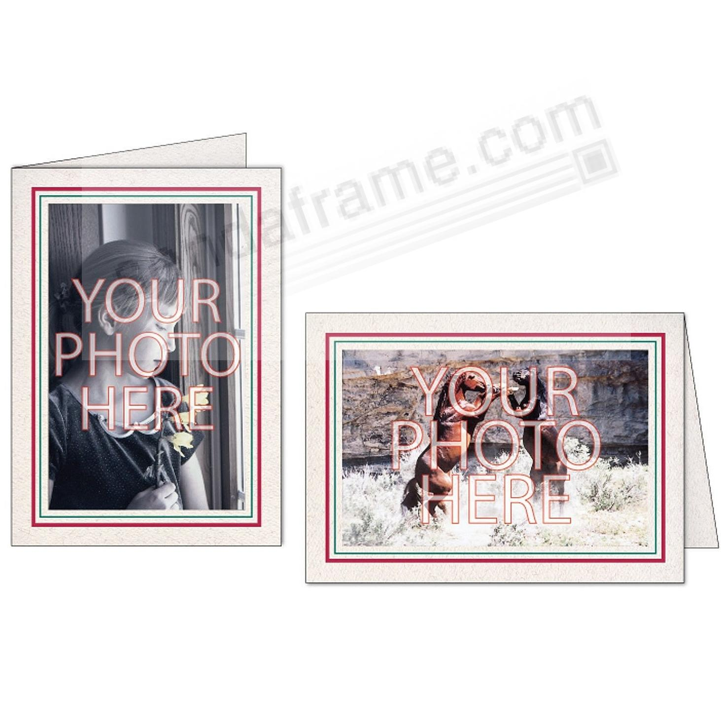 Natural Red+Green Double Border Photo Insert Card (sold in 10s)