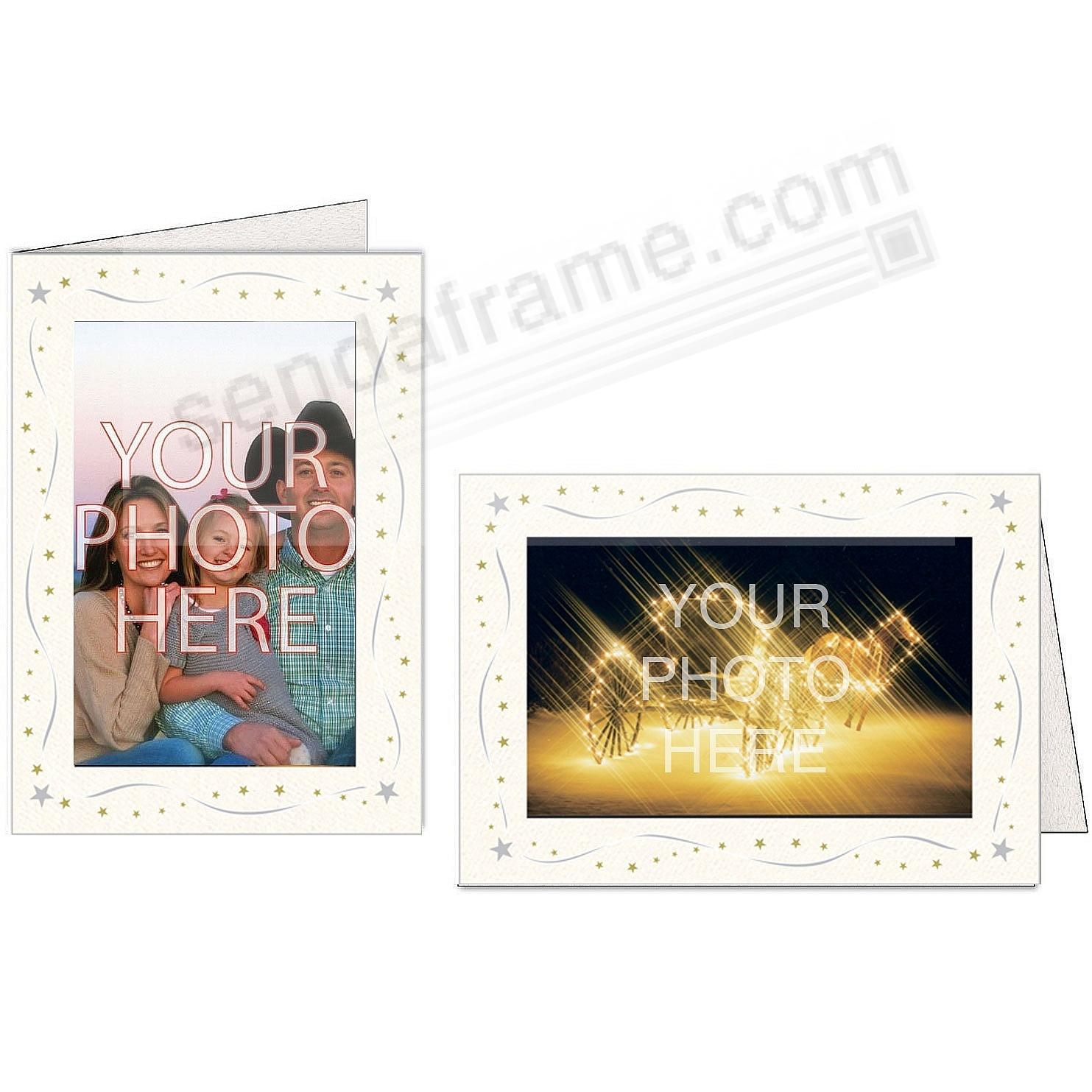 BRIGHT WHITE SILVER+GOLD STAR Border Photo Insert Card (sold in 10s)