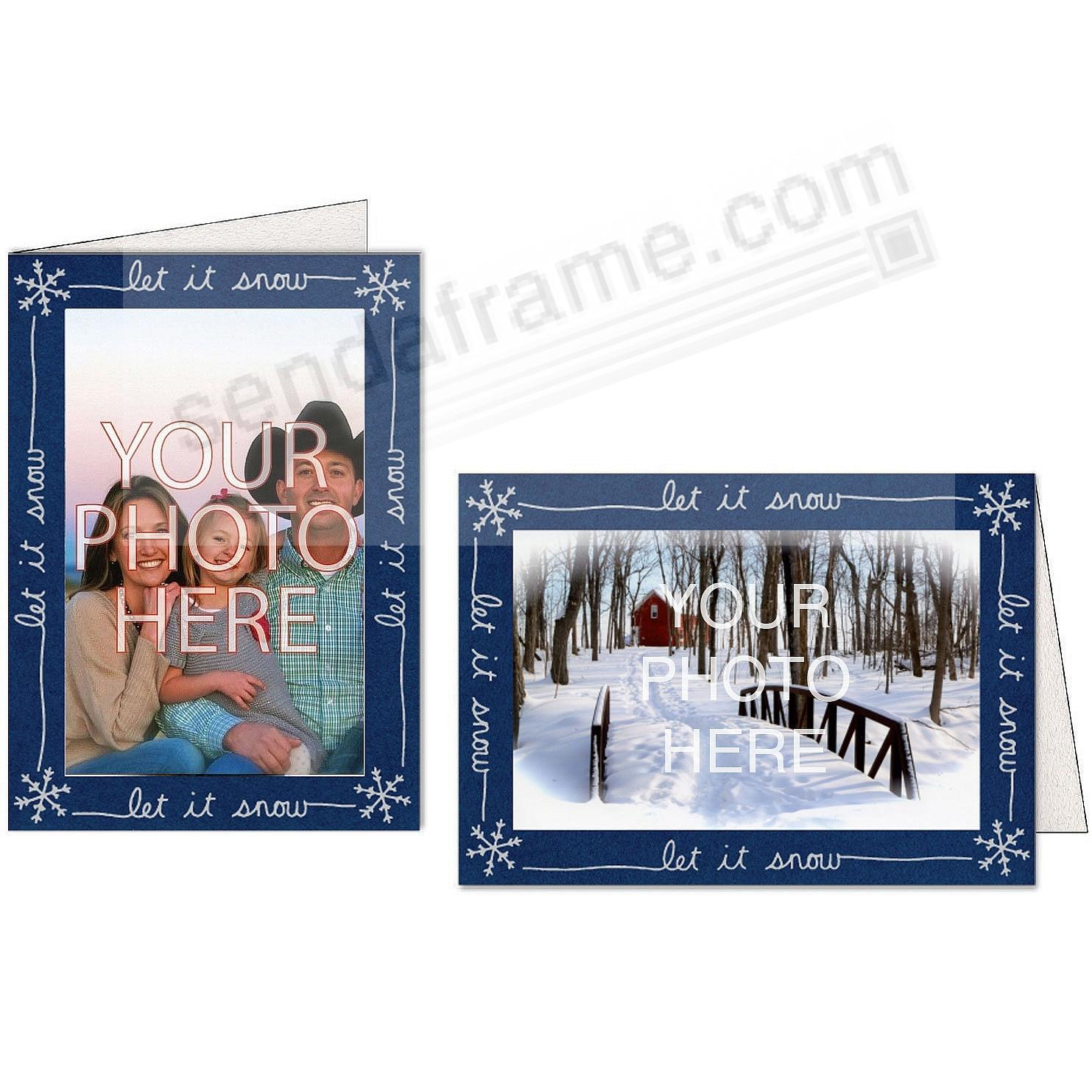 LET IT SNOW Border Photo Insert Card (sold in 10s)