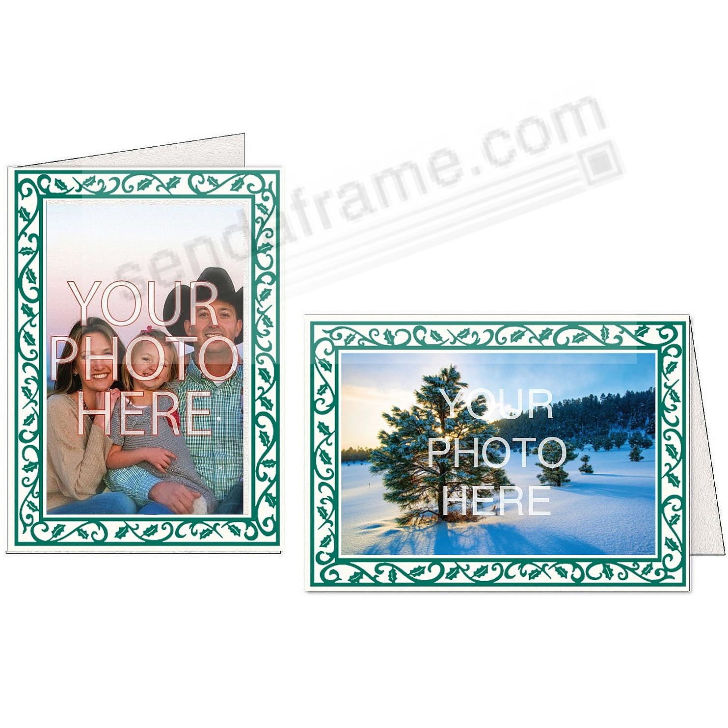 Bright White HOLLY BORDER Photo Insert Card (sold in 10s)