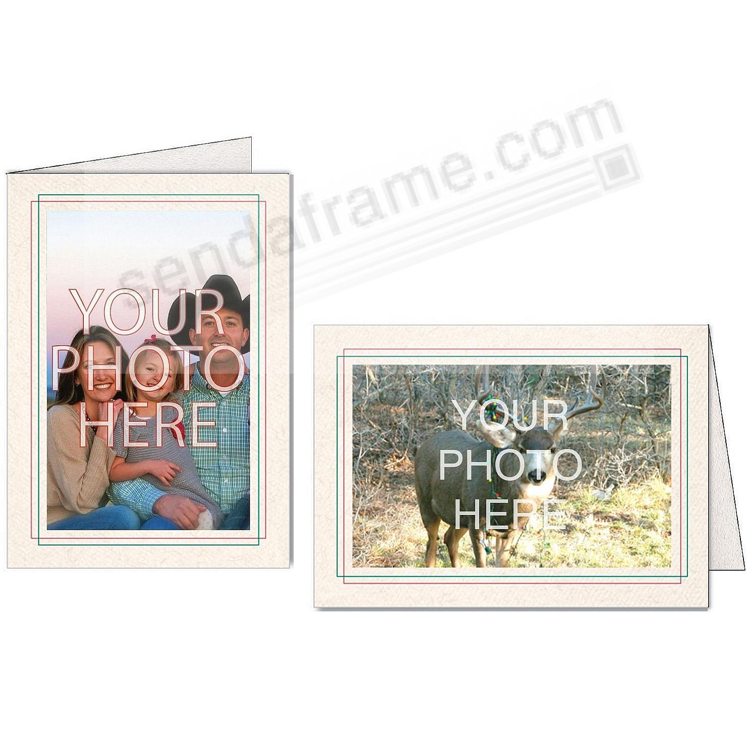 Natural Red+Green Overlap Double Border Photo Insert Card (sold in 10s)