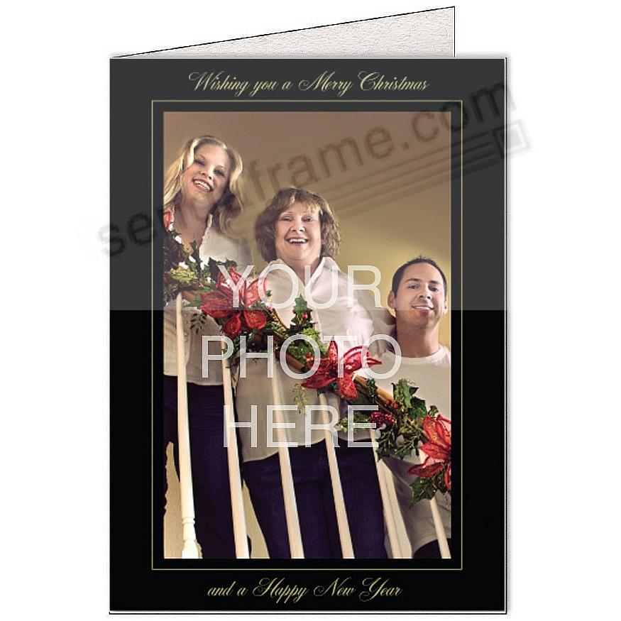Black Linen WISHING YOU A MERRY CHRISTMAS... Photo Insert Card (sold in 10s)
