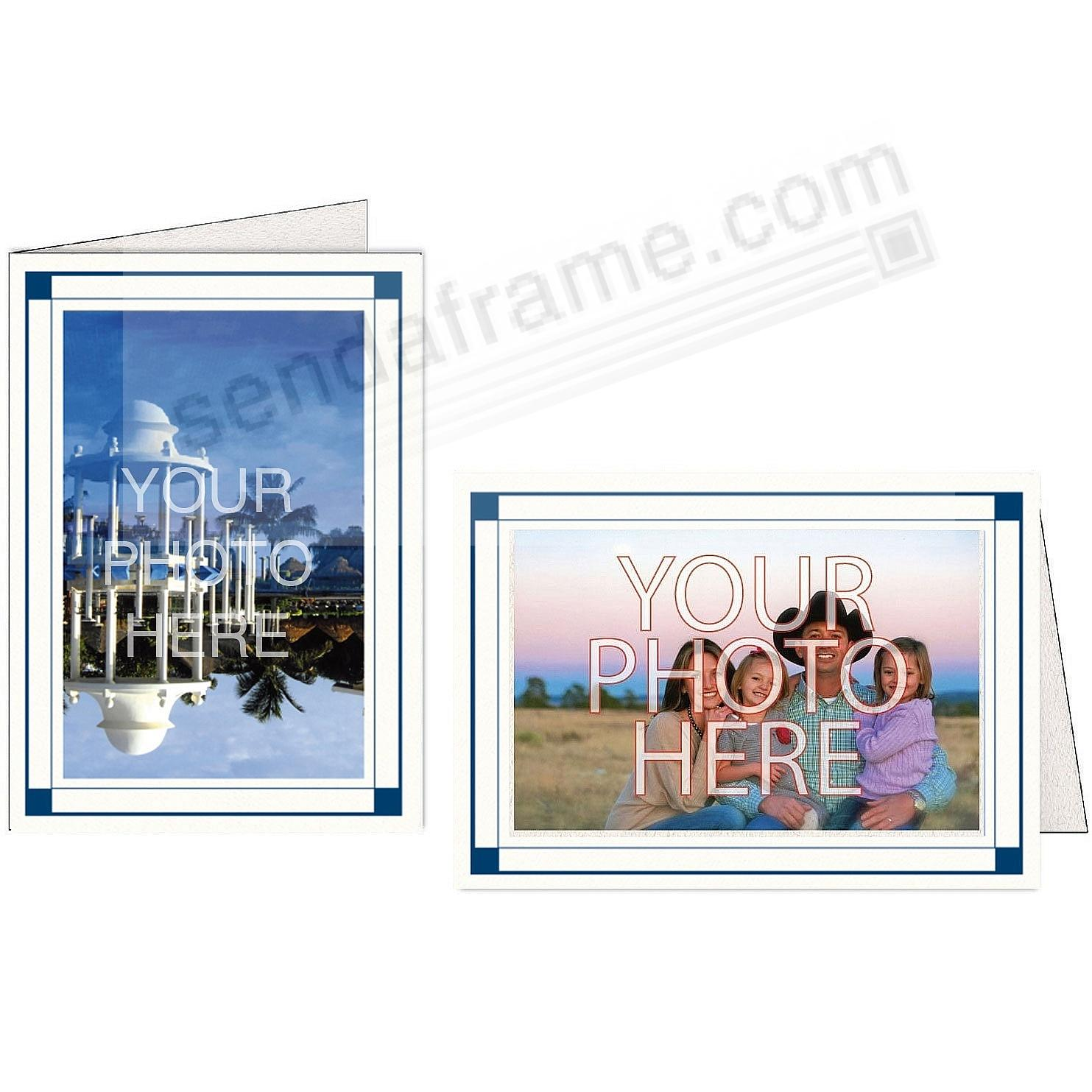 Bright-White Midnight-Blue Border Photo Insert Card (sold in 10s)