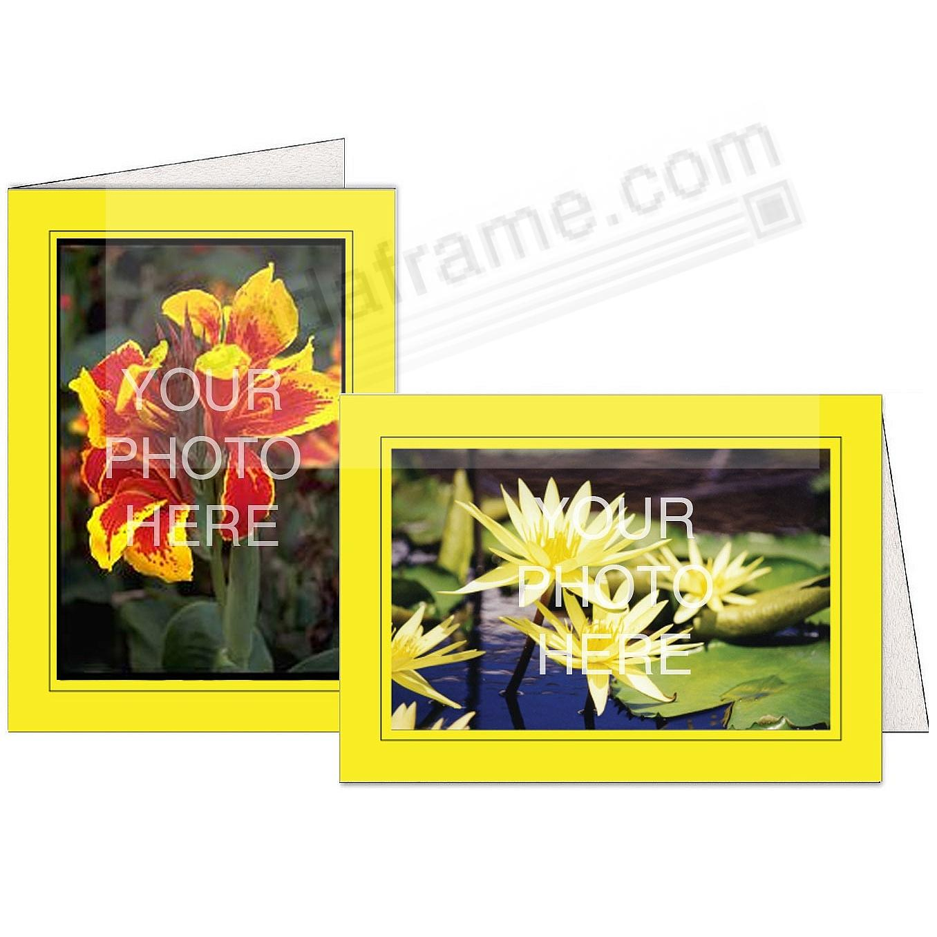 LEMON-YELLOW w/Black Trim Border Photo Insert Card (sold in 10s)