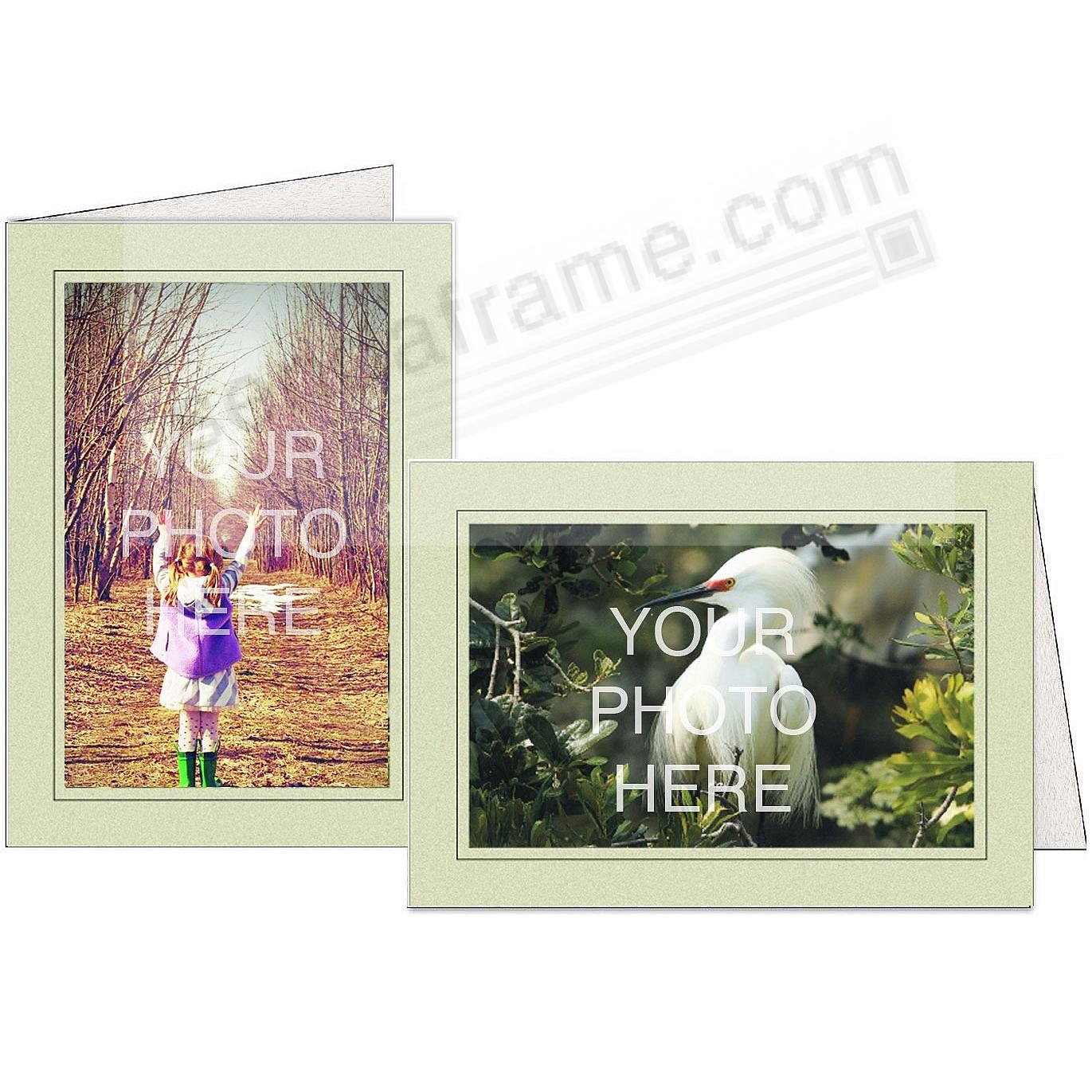SAGE-GREEN w/Black Trim Border Photo Insert Card (sold in 10s)