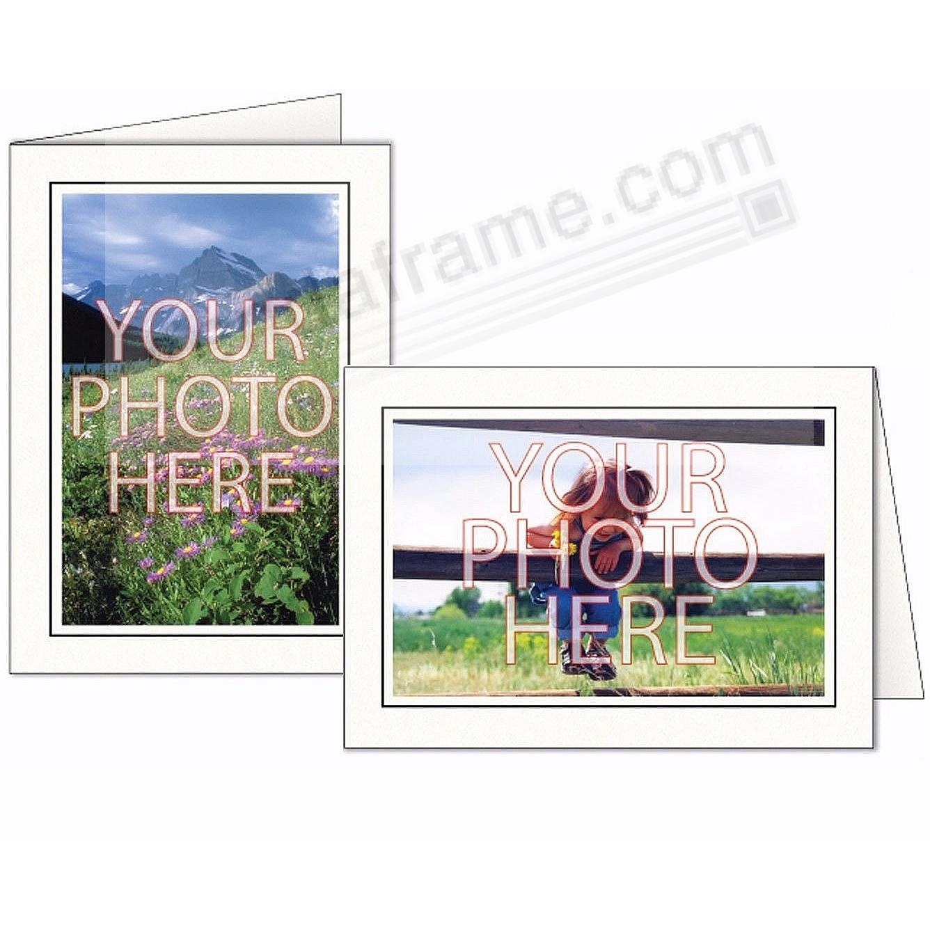 Bright White w/Raven-Bk Trim Border Photo Insert Card (sold in 10s)