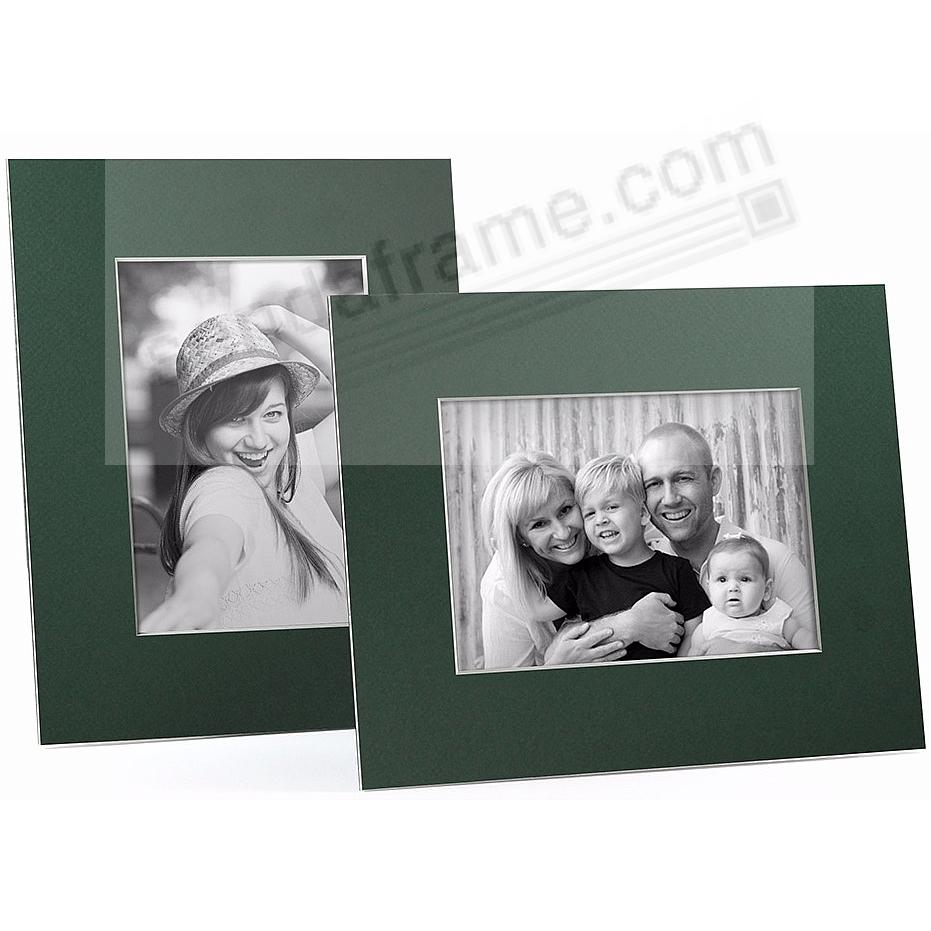 DARK GREEN/White Core BEVEL-CUT Easel 5x7 Frame Paper Stock (sold in 5s)