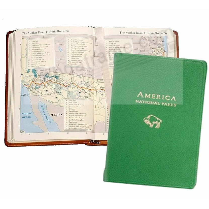 AMERICA NATIONAL PARKS Atlas in Green Goatskin Leather by Graphic Image™