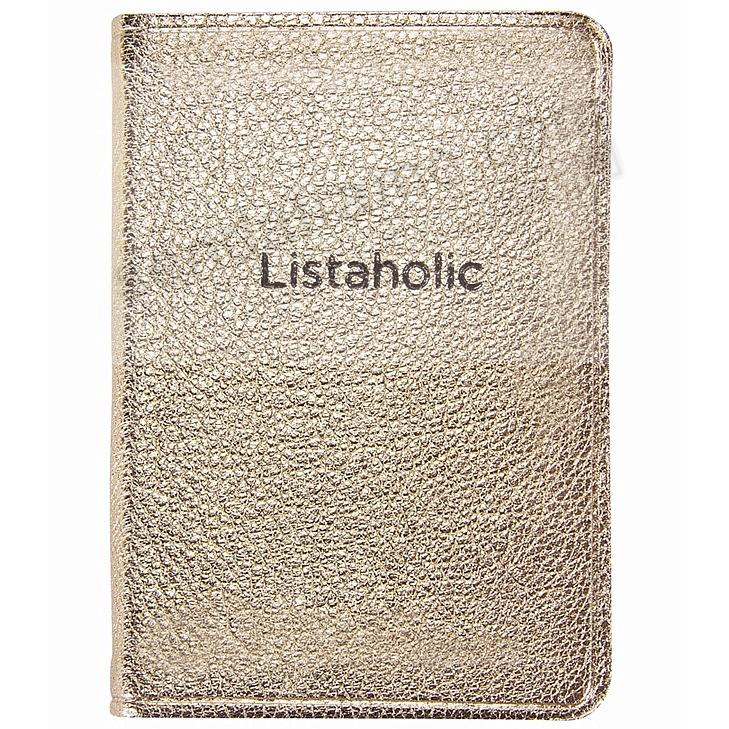 LISTOHOLIC Pocket Journal WHITE-GOLD METALLIC Fine Leather by Graphic Image™