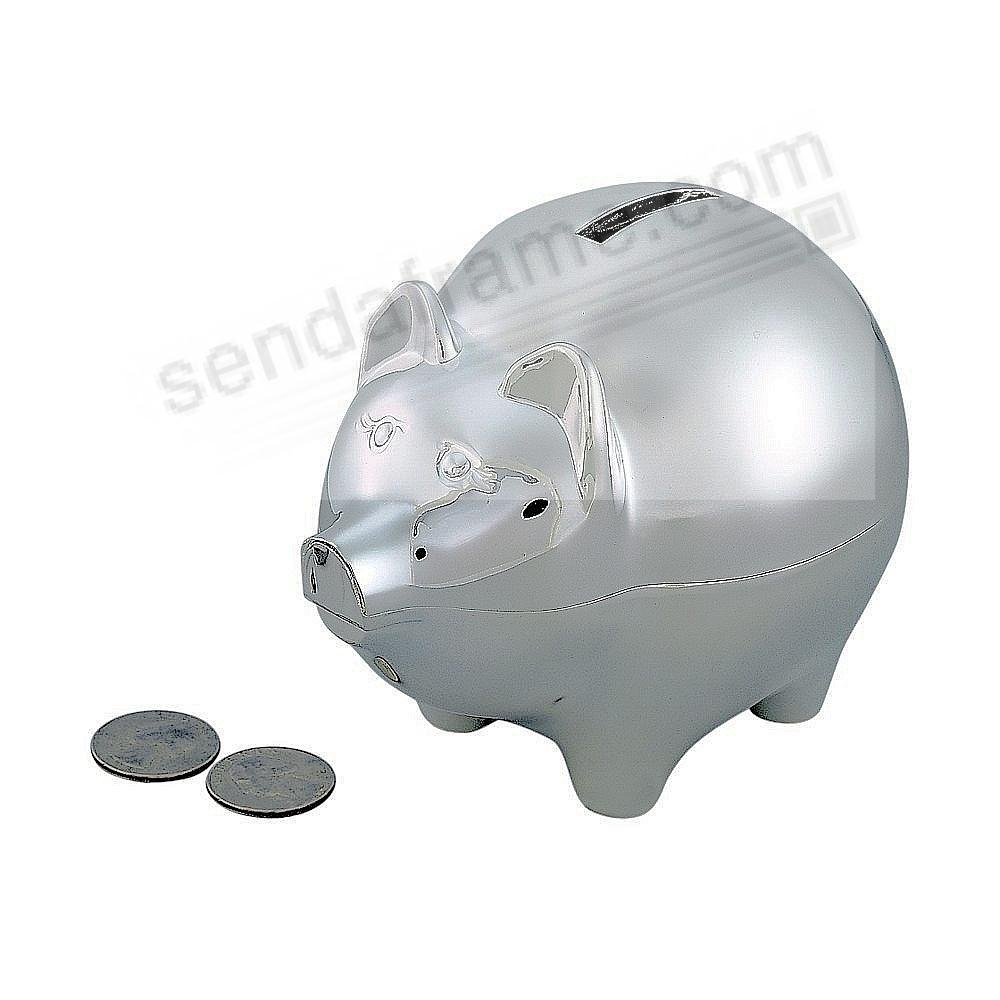 Adorable Polished + Engraveable Silver PIGGY BANK (Large) by Sheridan®