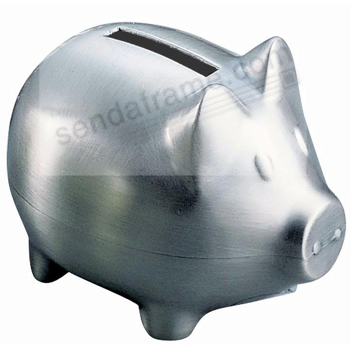 Adorable Satin Pewter finish PIGGY BANK (Small)