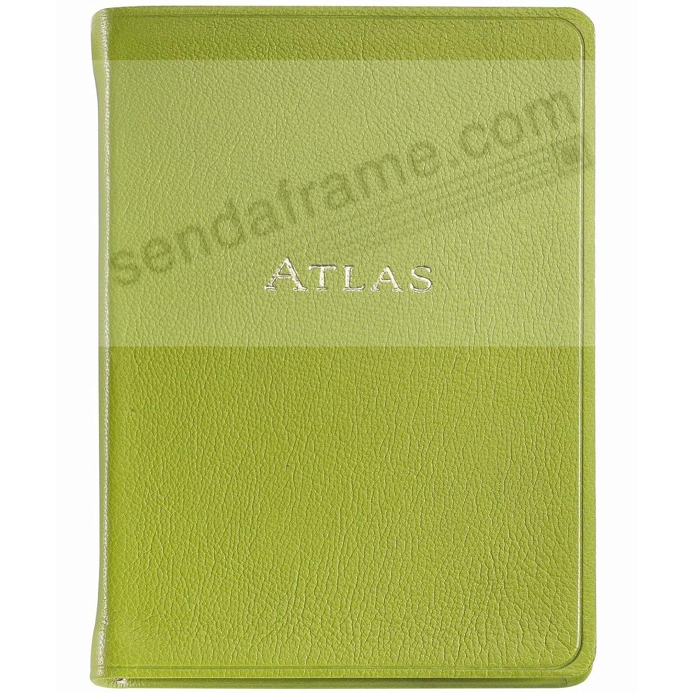 World Traveler Pocket 6in Atlas in Lime Brights Fine Leather by Graphic Image™