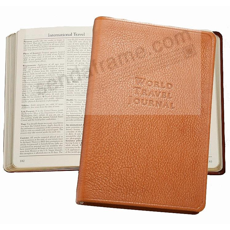 WORLD TRAVEL Pocket 6'' Journal in British-Tan Fine Leather by Graphic Image™