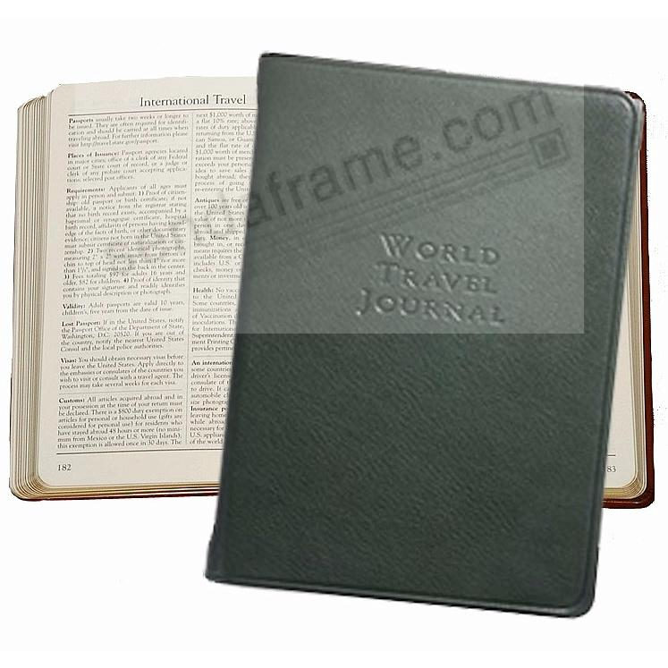 WORLD TRAVEL JOURNAL Pocket 6in Traditional-Green Fine Leather by Graphic Image™