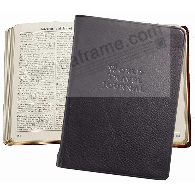 WORLD TRAVEL Pocket 6'' Journal in Black Fine Leather by Graphic Image™
