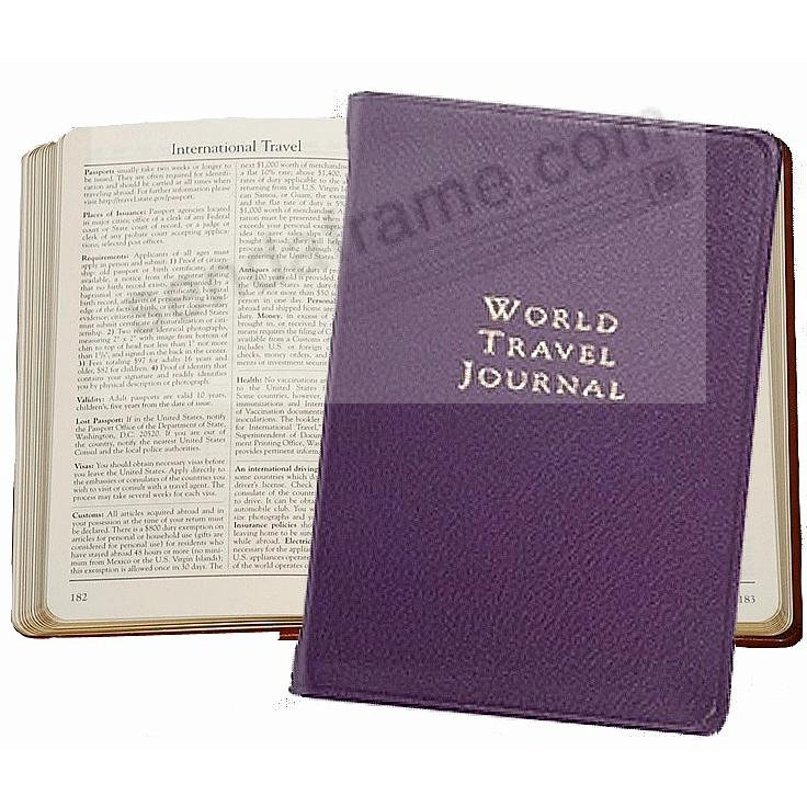 WORLD TRAVEL Pocket 6'' Journal in Purple Fine Leather by Graphic Image™