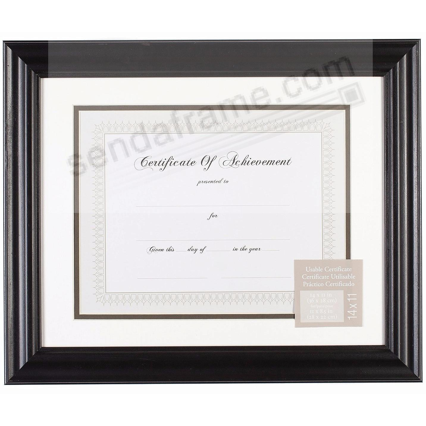 SATIN BLACK 14x11/11x8½ Certificate frame by Gallery Solutions®