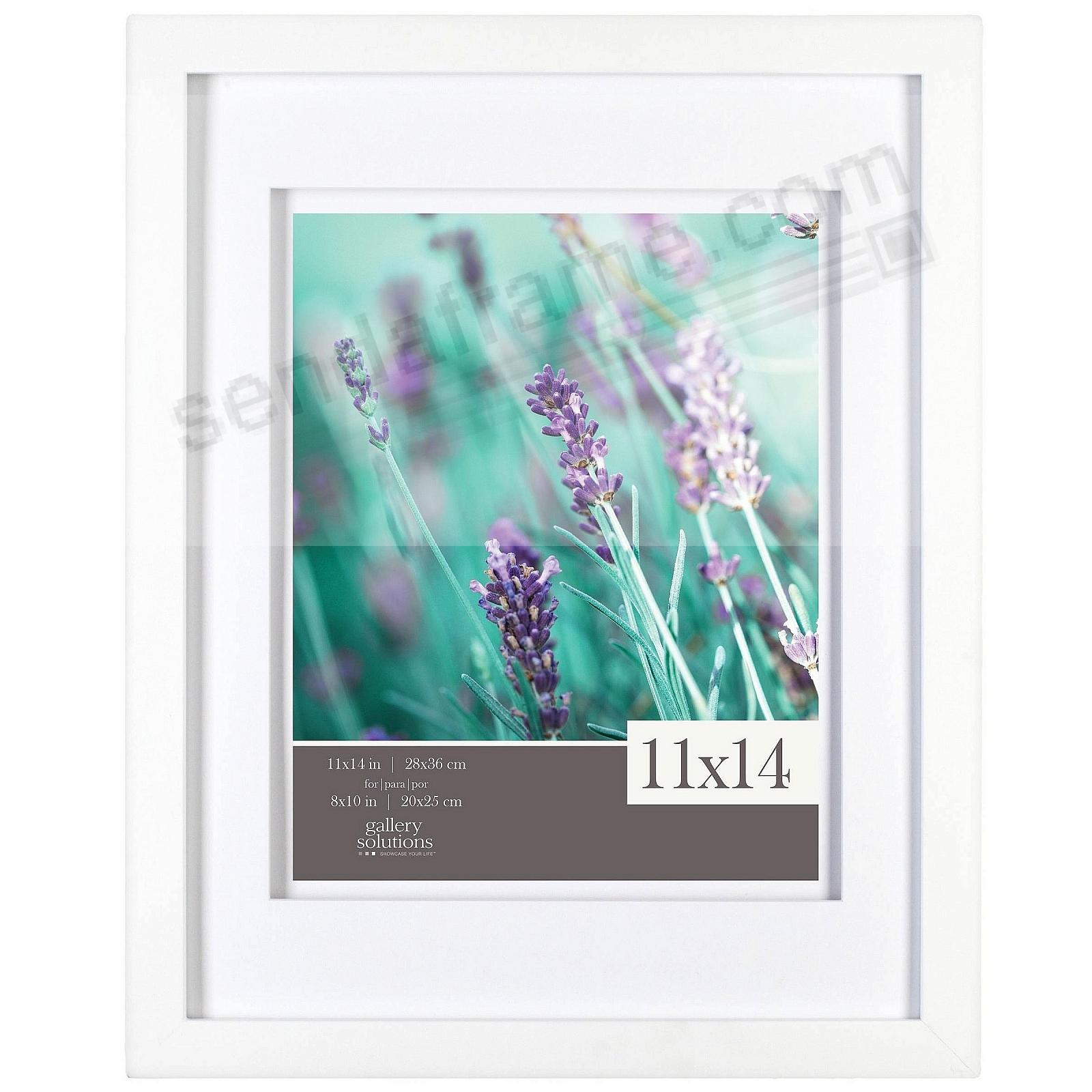 White Wall 11x14/8x10 Frame w/AirFloat White Mat by Gallery Solutions™