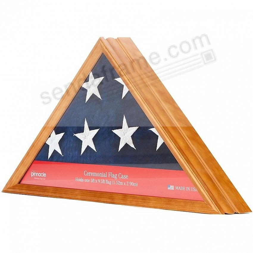 Hardwood Natural-Honey Stain Flag Case 16x16x22 frame by Pinnacle®