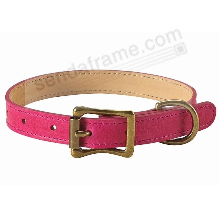 SMALL DOG COLLAR FUSCHIA-PINK LEATHER 12½-16½ by Graphic Image™