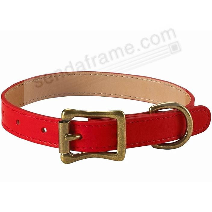 SMALL DOG COLLAR RED LEATHER 12½-16½ by Graphic Image™