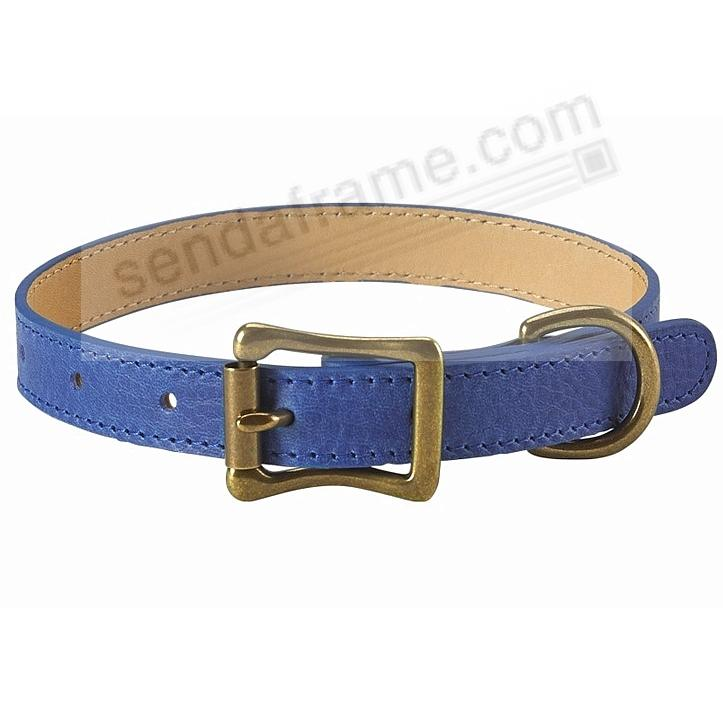 LARGE DOG COLLAR BLUE LEATHER 19-22in by Graphic Image™
