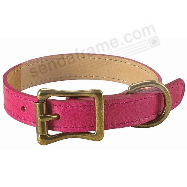 PETITE DOG COLLAR FUSCHIA LEATHER 10½-12½in by Graphic Image™