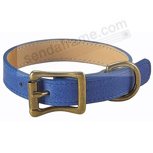 PETITE DOG COLLAR BLUE LEATHER 10½-12½in by Graphic Image™
